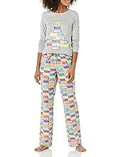 Amazon Essentials Women's Disney Star Wars Marvel Flannel Pajamas Sleep Sets Conjunto de Pijama, Ladrillos navideños, S