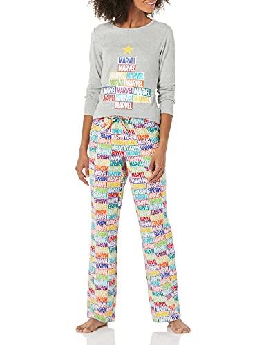 Amazon Essentials Women's Disney Star Wars Flannel Pajamas Sleep Sets Pajama, Mattoncini Marvel Holiday, X-Small
