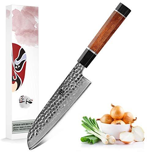 XINZUO 18cm Cuchillo Santoku Cuchillo para Verduras, 67 Capas de Acero Damascus Cuchillo de Cocinero Chef Acero de Alto Carbono Cuchillo Asiáticos -Mango Ergonómico de Desert Ironwood -Serie Zhen