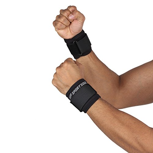 SportSoul WS1P Wrist Support, Free Size 1 Pair (Black)