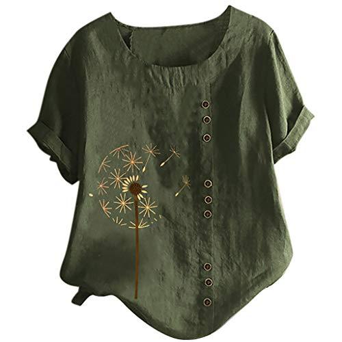YBWZH Leinenhemd Henley Shirt Daily Look Hemdbluse Sommer Tops Baumwolle Leinen Oberteile Hippie Shirt V-Ausschnitt Strand Yoga Top Bluse Große Größen BlusentopTops