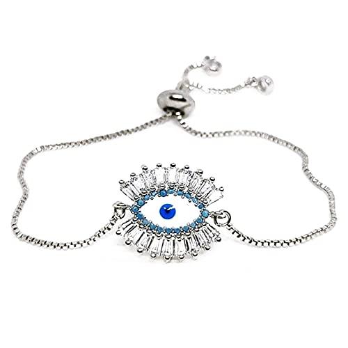 Silver Color Greek Eye Bracelet For Women Zirconia Blue Evil Eye Bracelet Turkish Eye Jewelry Tennis Bracelet Pulsera Ojitos 23Cm