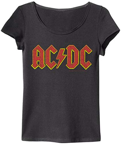 Amplified Camiseta de manga corta para mujer (logotipo de ACDC, color carbón, talla XS)