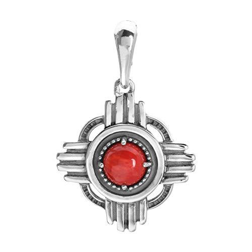 American West Sterling Red Coral Gemstone Zia Symbol Pendant Enhancer