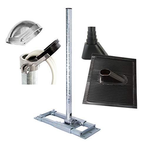 PremiumX Deluxe X130-48 SAT Dachsparrenhalter 130 cm Mast 48 mm Sparren-Halterung mit Kabeldurchführung für Satelliten-Antenne Satellitenschüssel inkl. Dach-Abdeckung Set schwarz