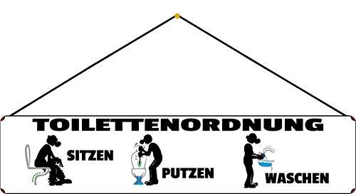 FS Spruch Straßenschild Toilettenordnung weißes Blechschild Schild gewölbt Metal Sign 10 x 46 cm mit Kordel