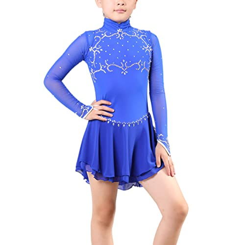 Q&M Disfraz de Competencia de Patinaje para Nias Manga Larga Vestido de Baile Latino con Diamantes de Imitacin
