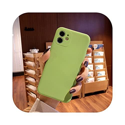 Funda de silicona líquida suave para iPhone 11 12 Pro Max 7 8 6 6S Plus XR X XS MAX SE mini funda verde claro para iPhone 12Pro Max