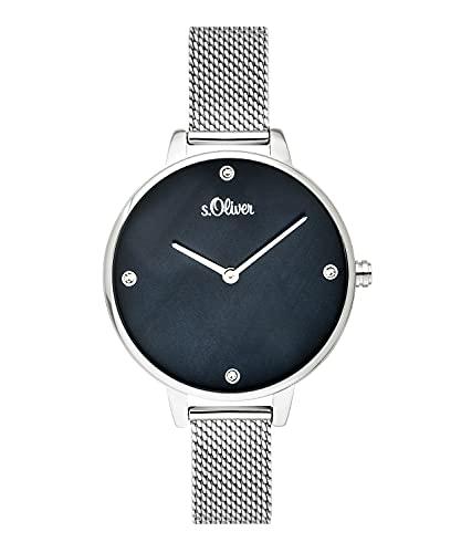 s.Oliver Damen-Armbanduhr Analog Quarz Edelstahl SO-3656-MQ