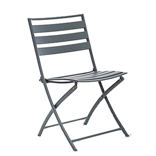 ZWJLIZI Folding Table/chair, Portable Wrought Iron Balcony Square/round Leisure Table And Chair (gray), Nordic Ins Style Photo Props (Color : Folding chair)