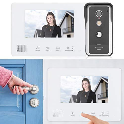 Xuzuyic Intercomunicador doméstico Videoportero Sistema de visión Nocturna de 2 Cables Cámara...