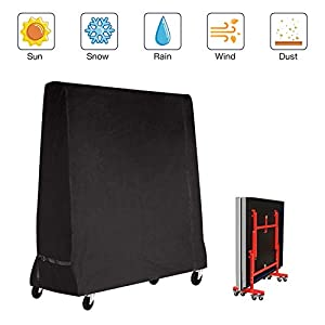 Mutsitaz Funda Protectora para Mesa de Ping-Pong Impermeable Resistente al Polvo Anti-UV Protección Oxford 165x70x185cm Negro