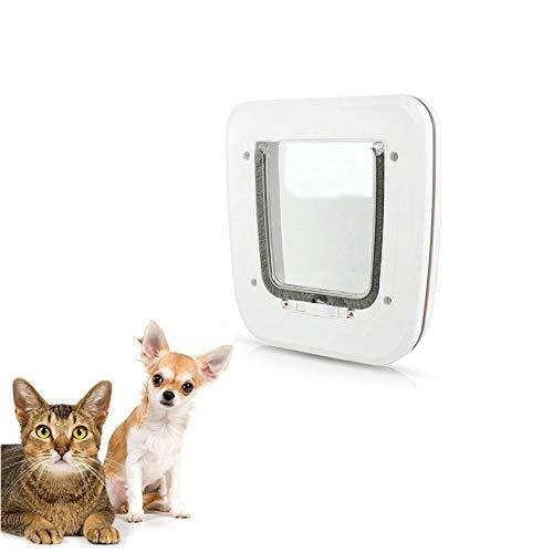 PETEMOO Weiß Katze Klapptür 4-Wege-Verriegelung Tor Kleines Haustier Abschließbar Türen Indoor Kleiner Hund Magnetisch Einfache Installation