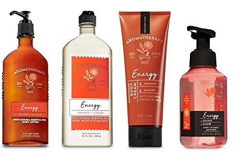Bath and Body Works Aromatherapy ORANGE GINGER Deluxe Gift Set - Body Cream - Body Lotion - Body Wash and Gentle Foaming Hand Soap - Full Size