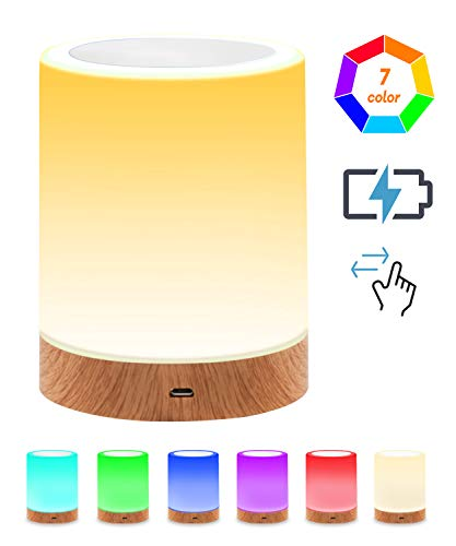 Night Light Touch Lamp, RGB Color Changing Light, Dimmable Warm White Nursery Lights, Portable Cordless Table Lamps for Nursery, Kids, Babies, Bedroom