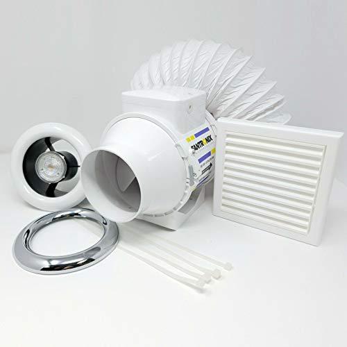 100mm LED Shower Fan Light Kit with Chrome & White Bezel for Steam Moist...
