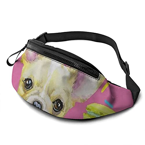 Belt Bag Animal Dog French Bulldog Printed Casual Waist Bag Fanny Pack For Outdoor Sports Fitness Hands Free Wallet Casual Sport Bum Bag