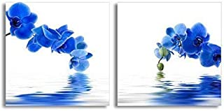 Canvas Prints Wall Art - Blue Orchid Flower with Reflection in Water | Modern Home Deoration/Wall Decor Giclee Printing Wrapped Canvas Art Ready to Hang - 12