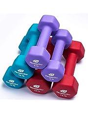 Fitness Alley Neoprene Dumbbell Pairs Set Coated for Non Slip Grip - Hex Dumbbells Weight Set - Neoprene Hand Weight Pairs - Hex Hand Weights Neoprene Dumbbells Combo