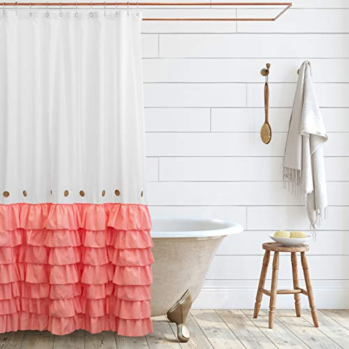 Shaina White Shabby Chic Shower Curtain 72 x 72 with Farmhouse Ruffles and Country Style Buttons… (Pink)