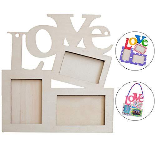 Outgeek Marco de Fotos Creativo DIY Carta de Amor Marco de Madera para el Día de la Madre