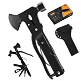 Multitool Camping Accessories Hatchet 14 in 1 Survival Gear and Equipment with Knife Hammer Axe Saw Screwdrivers Pliers for Fishing Hunting Hiking, Gifts for Men Dad Fathers Day(Black)