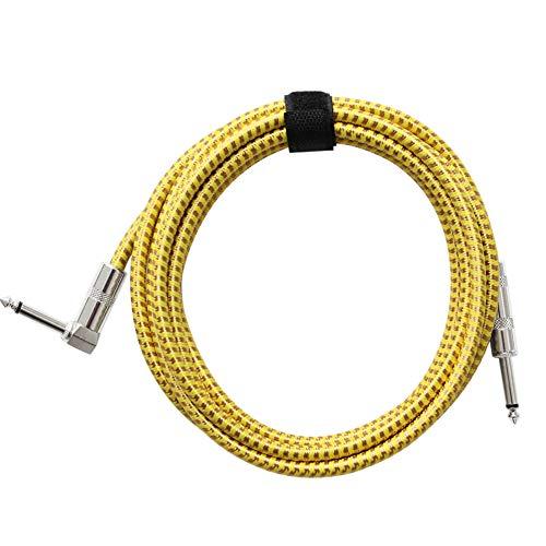 Redcolourful Flanger FLGZB-24Y Kabel für E-Gitarre, Bass, Instrument, mit 6,5 mm Stecker, gewebte Ummantelung, 3 m