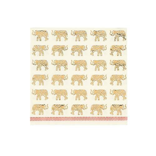 Talking Tables Pack of 16 Size 33cn Luxury Elegant Elephant Paper Napkins, Gold Foil