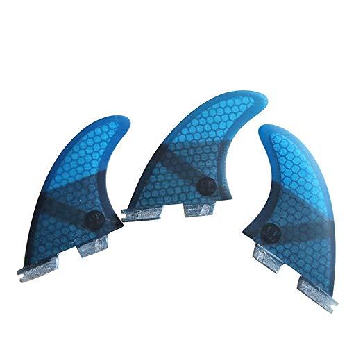 UPSURF Tabla de Surf FCS II Aletas G5/G7 Tres Aletas Panal + Fibra de Vidrio (Azul G7)