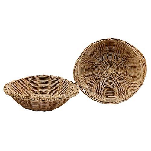 2pcs Woven Bread Baskets Round Bamboo Food Serving Baskets Wicker Fruit Vegetable Beige (Medium)