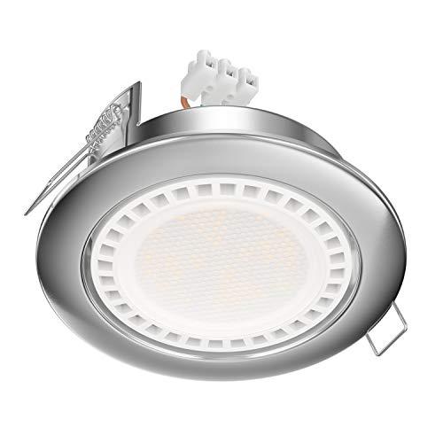 ledscom.de LED Einbaustrahler Zobe II flach GX53 chrom matt rund 11,5W=62W 830lm weiß 107mm Ø Lochkreis 90mm Ø