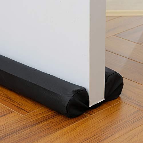 """ClauCiel Under Door Draft Stopper Black 29""""-35"""" Noise Window Breeze Dust Air Blocker Adjustable Door Sweeps"""