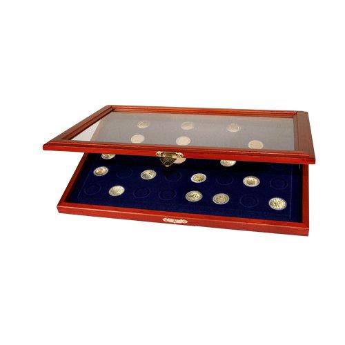 SAFE 5869 Echt Holz Münzkasette für 35 x 2 EURO Euromünzen | ebenso für 10 / 20 Euro ohne Münzkapseln geeignet | Königsblaue Samteinlage | Abmessungen: 375x260x30 mm