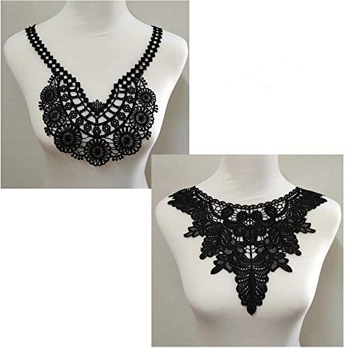2 pcs Polyester Black Fabric Flower Lace Sewing Applique Lace Collar Neckline Collar Applique DIY Accessory (Color D)