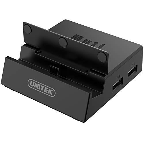 UNITEK Docking Station for Nintendo Switch, USB-C Smartphones, TV-Anschluss I 8 in 1: 3 x USB A fur Pendrive, Maus, Tastatur; MicroSD/SD Kartenleser, 3.5 mm Audio, 4K HDMI output, USB C Power Delivery