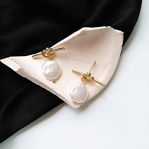 FEARRIN Pendientes para Mujer,diseñoEncantador,Nudo de Metal con Disco, Perlas acrílicas, pequeños Pendientes Colgantes para Mujer, Tachuelas de joyería