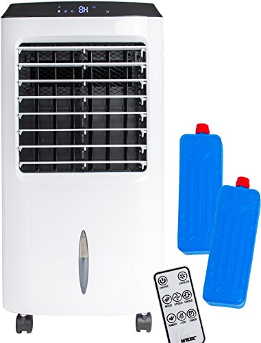 MYLEK Large Portable Air Cooler for Home with Remote Control & 2 Ice Packs - 4-in-1 Air Cooler, Air Purifier, Ioniser & Humidifier - LCD Display, 8 Hour Timer, 3 Speeds, 3 Wind Settings & Oscillation