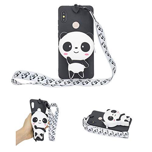 SEEYA Funda Silicona 3D Billetera para Xiaomi Mi A2 Case TPU Gel Flexible Cover Negro Diseño Panda con Lanyard Ultra Delgado Carcasa Anti-Rasguño y Resistente para Xiaomi Mi A2