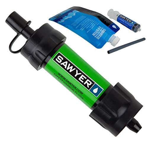 Sawyer MINI PointONE Filter Sparsets Wasserfilter für Camping Outdoor Hiking Wandern Sport Fitness (1 Filter, Grün)