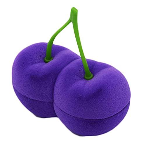 East Utopia Caja de Pendientes de Cereza púrpura Caja de Almacenamiento de Joyas Collar Caja de Regalo Organizador Caja de Almacenamiento de Joyas con Forma de Fruta