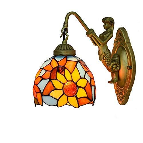 L-YINGZON Británica moderna del vitral de Tiffany Sala Comedor Dormitorio club de la barra del pasillo rojo festivo lámpara de pared de la decoración de la pared de luz de la lámpara de Tiffany Lámpar