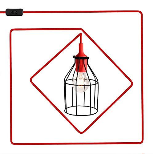 LEDGLE Pendelleuchte Vintage Retro Pendellampe aus Metall E27 Industrial Hängelampe, Hängeleuchte mit 4,5m Netzkabel, Rot