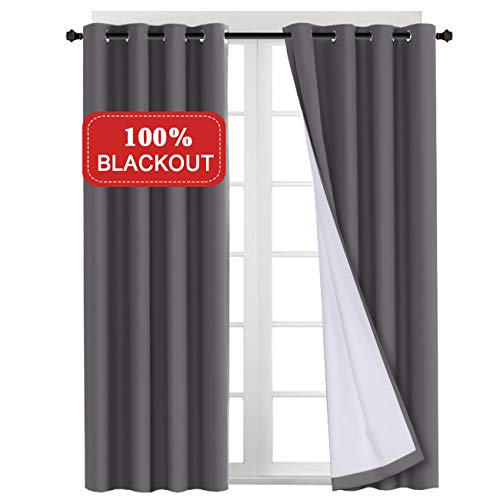 Turquoize 100% Blackout Grey Curtains for Bedroom Thermal Insulated Lined Curtain with White Liner for Living Room Window Treatment Curtain Panels, 2 Panels, 52 x 96, Gray