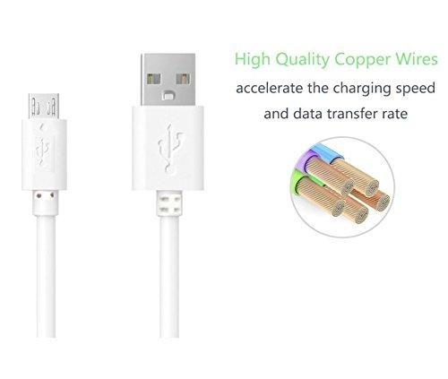 Yisen Mini Micro USB Ladekabel, USB Ladekabel (0,2M) Lade- & Sync Datenkabel Ladekabel für Samsung HTC Huawei und andere Android Geräte (4er Pack, Weiß)