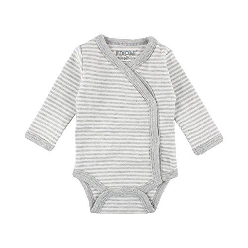 FIXONI LITTLE BEE Le Body Portefeuille rayé à Manches Longues pour prématuré bébé, 01-82 Light Grey Melange