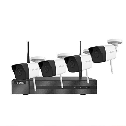 HILOOK WIFI KIT 4X Cámaras Bullet Wireless CCTV SYSTEM 1TB HDD Blanco