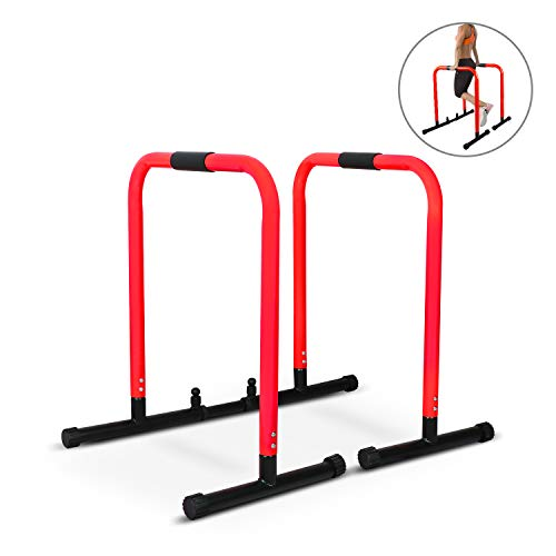 Dip Stand Station, Body Press Parallel Bar Multi-Functional Fitness Station with Adjustable Length and Foam for Home Strength Training, Max User Weight 350LBS