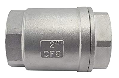 """Duda Energy VCV-WOG1000-F200 Vertical Check Valve, 304 Stainless Steel, 2"""" NPT Spring Loaded in-line Low Cracking Pressure, 2"""" from Duda Energy"""