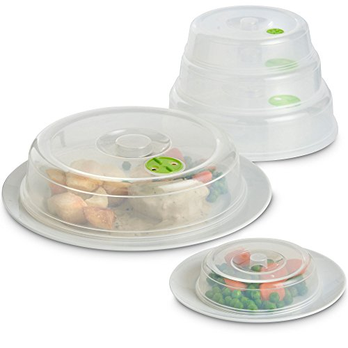 VonShef Set of 5 Microwave Food Covers- Easy Storage & Easy Clean, Dishwasher Safe, Transparent Lids- Variety of Sizes for all Plates & Dishes