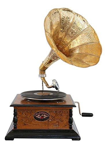 aubaho Nostalgie Grammophon mit Trichter Gramophone Schellackplatte im Antik-Stil (d)